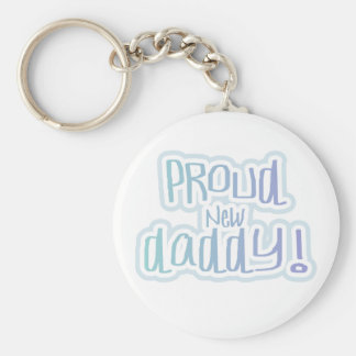 Blue Text Proud New Daddy Tshirts and gifts Key Chains