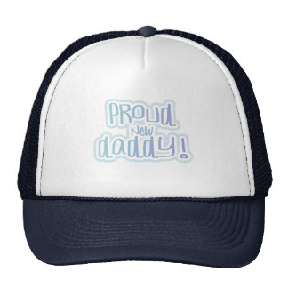 Blue Text Proud New Daddy Tshirts and gifts Trucker Hat