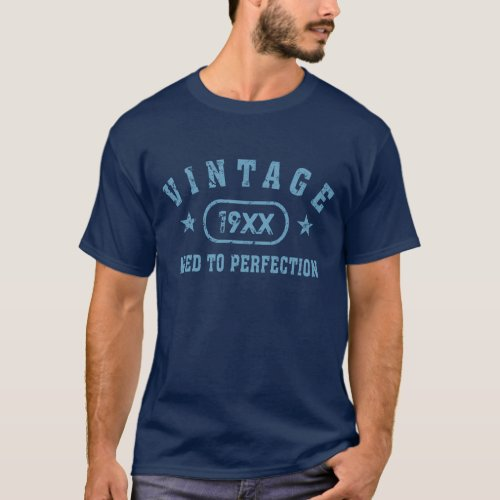 Blue Text Vintage Aged to Perfection T_Shirt