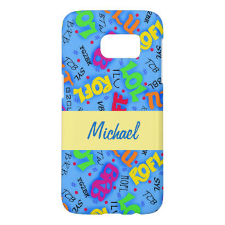 Blue Texting Art Abbreviation Name Personalized Samsung Galaxy S7 Case
