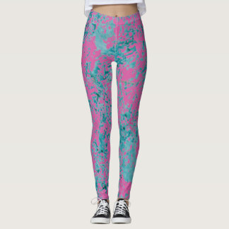 Blue texture on top of a pink solid color. leggings
