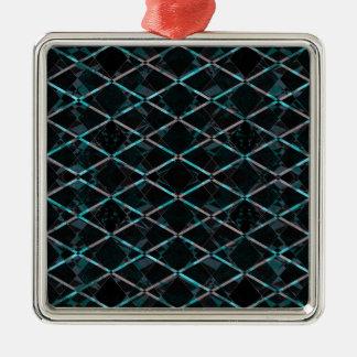 Blue textured diamond pattern metal ornament