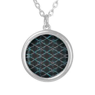 Blue textured diamond pattern round pendant necklace