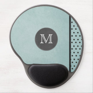 Blue Textured Dots Side Monogram Gel Mouse Pad