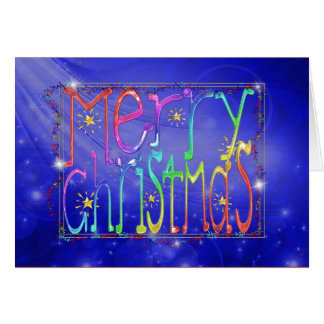 Blue textured Merry Christmas card
