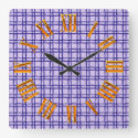 Blue Textured Square, Oblong and Circle Pattern Square Wall Clock (<em>$33.45</em>)