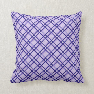 Blue Textured Square, Oblong and Circle Pattern Throw Pillow
