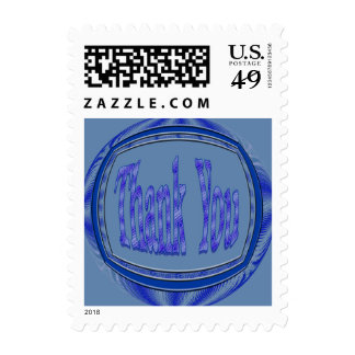 Blue Thank You circle Postage Stamp