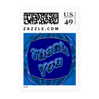 Blue Thank You Postage Stamp