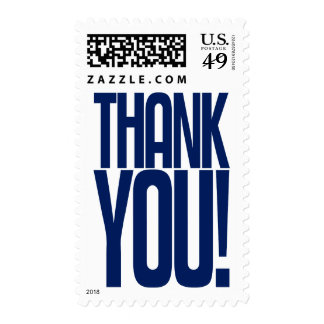 Blue Thank You! Postage Stamp