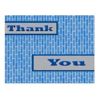 blue thank you postcard