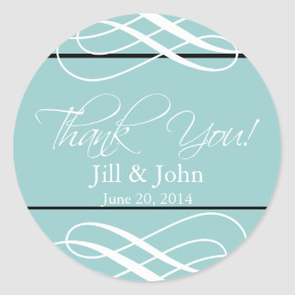 Blue Thank You Wedding Favour Label Stickers