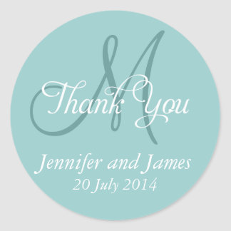 Blue Thank You Wedding Favour Stickers