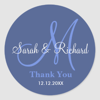 Blue Thank You Wedding Monogram Sticker