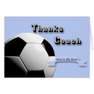 Blue Thanks Soccer Coach Card