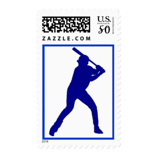 Blue theme baseball player simple postage stamps