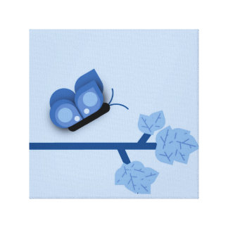 Blue Theme Butterfly on a Branch Canvas Print