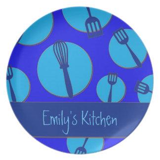 Blue theme retro utensils custom dinner plate