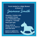 Blue theme rocking horse baby shower invitations