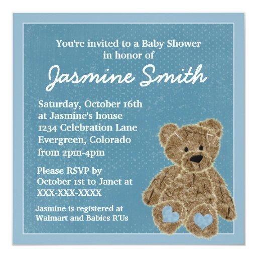 blue theme teddy bear baby shower invitations zazzle