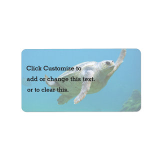 Blue Themed, A Sea Turtle Swims In Clear Blue Wate Label