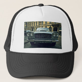 Blue Themed, A Vintage Blue Car Parked On An Empty Trucker Hat