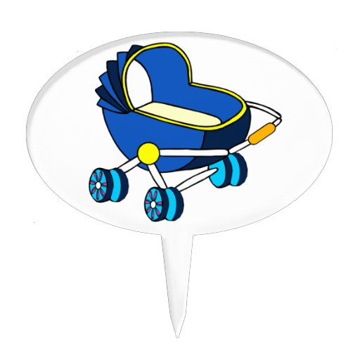 blue themed baby carriage graphic.png cake topper