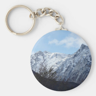 Blue Themed, Fresh Snow Glistens On The Top Of Roc Basic Round Button Keychain