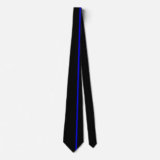 Blue Thin Vertical Line on Black Offset Right Neck Tie