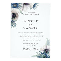 Blue Thistle Anemone Wedding Invitation