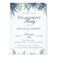 Blue Thistle Botanical Engagement Party Invitation