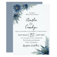 Blue Thistle  Botanical Wedding Invitation
