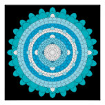 Blue Thousand Petal Lotus Mandala Poster