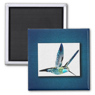 Blue Throated Hummingbird 2 Inch Square Magnet