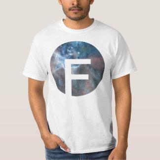 Blue thunder cloud nebula circle design and letter t shirts