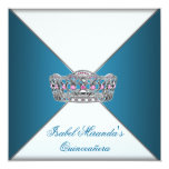 Blue Tiara Classy White Quinceanera 15th Party Invite