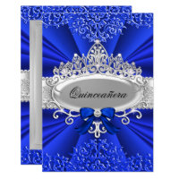 Blue Tiara & Damask Quinceanera Invite