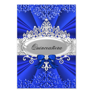 "Blue Tiara & Damask Quinceanera Invite 3.5"" X 5"" Invitation Card"