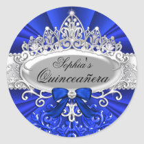 Blue Tiara & Damask Quinceanera Sticker