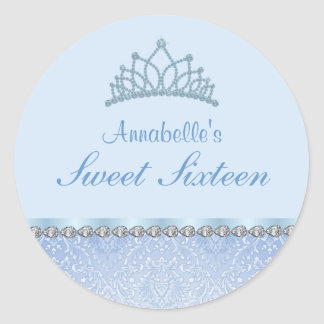 Blue Tiara & Damask Sweet16 Sticker
