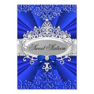 Blue Tiara & Damask Sweet Sixteen Party Card