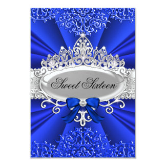 Blue Tiara & Damask Sweet Sixteen Party 3.5x5 Paper Invitation Card