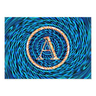 Blue Tidal Spiral Monogram A Card