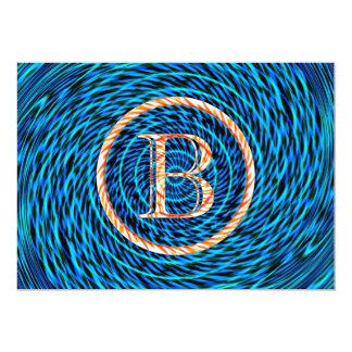 Blue Tidal Spiral Monogram B Card