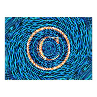 Blue Tidal Spiral Monogram C Card