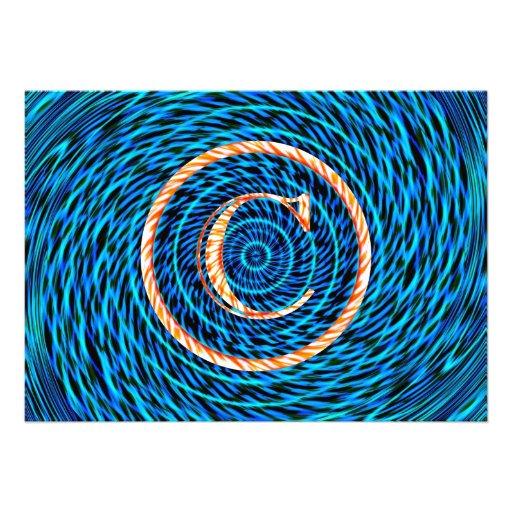 Blue Tidal Spiral Monogram C Custom Announcements