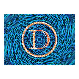 Blue Tidal Spiral Monogram D Card