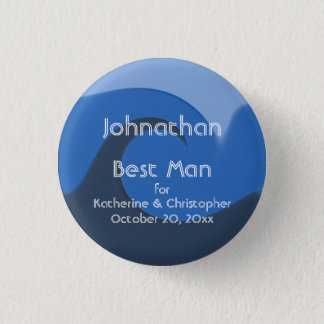 """""""Blue Tide"""" - Best Man w/ Names and Date Button"""