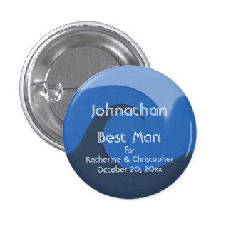 """""""Blue Tide"""" - Best Man w/ Names and Date Pins"""