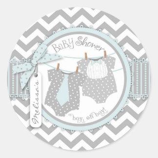 Blue Tie Bow Tie Chevron Twins Baby Shower Round Stickers